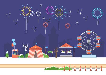 Festive amusement park scenery Vectores