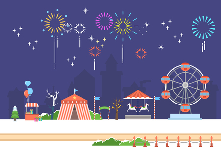 Festive amusement park scenery Stock Vector - 90850796