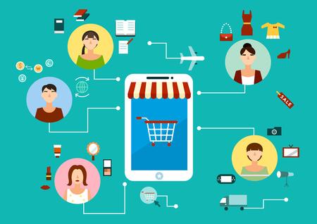 Online shopping network icon Çizim