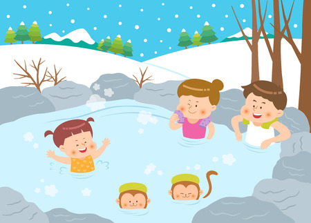 Family enjoying thermal spa on winter vacation