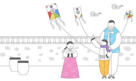 Family in Korean traditional clothing playing kite Illustration