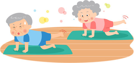 The aged couple doing Pilates