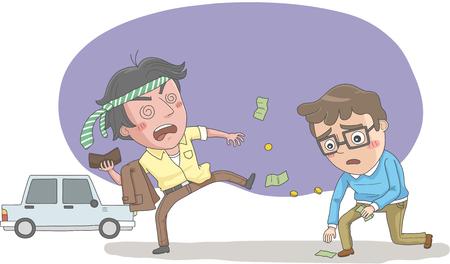 Drunken man paying money chauffeur driver