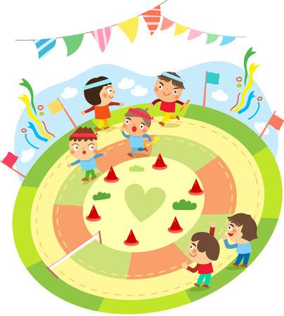 Kinderen op school sportdag Stock Illustratie