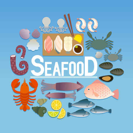 Set of various seafood icon