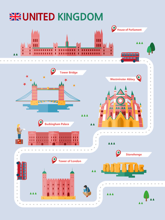 UK attraction infographic with icon Ilustrace