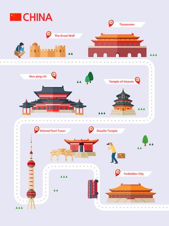 Infografika atrakcji Chin z ikoną Ilustracje wektorowe