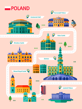 Poland attraction infographic with icon Reklamní fotografie - 90906631