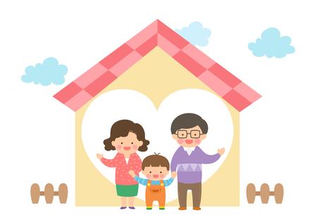Harmonious family with house Illustration