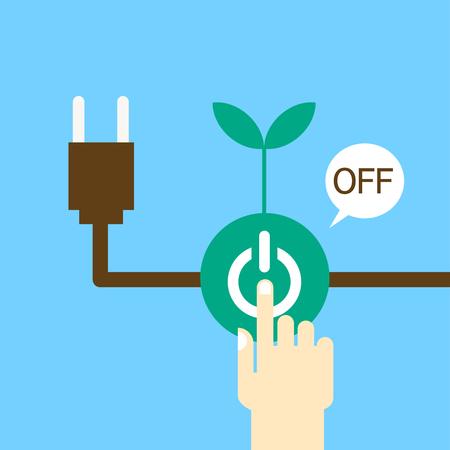 Hand turning off the power - saving energy