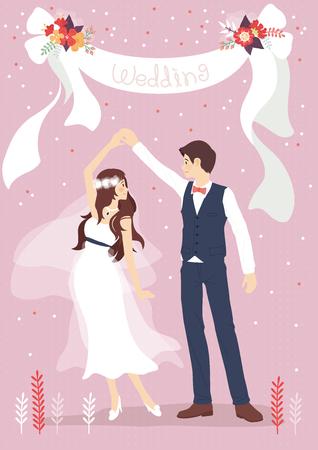 Hochzeitspaar in romantischer Szene