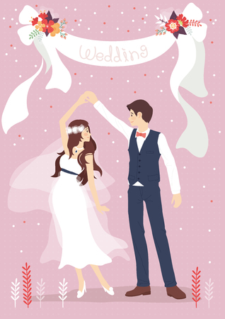 Wedding couple in romantic scene