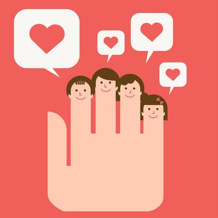 Harmonious family face on hand 矢量图像
