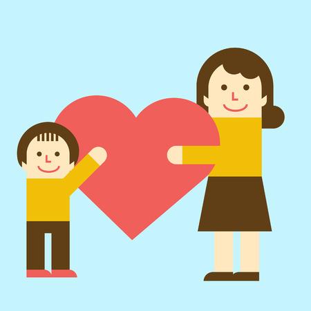 Harmonious Family with heart 向量圖像