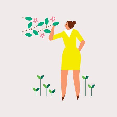 봄 날을 즐기는 아름 다운 여자 스톡 콘텐츠 - 90911432