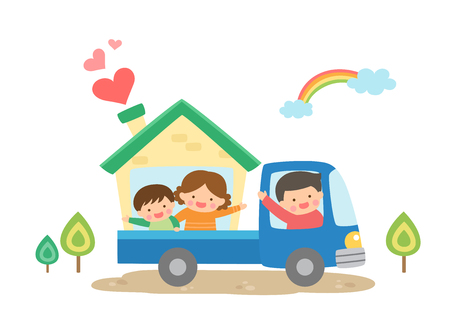 Harmonious family moving Illustration
