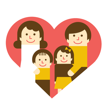 Harmonious Family with heart Illustration