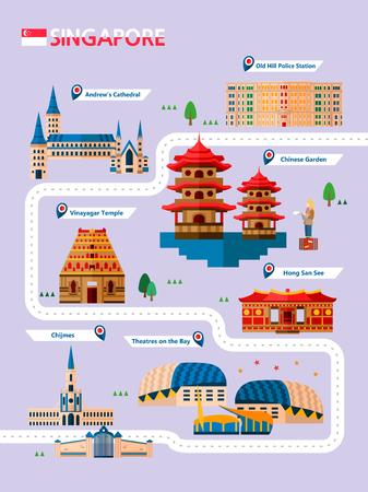 Infografía de atracción de Singapur con icono