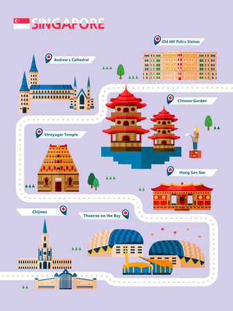 Singapore attraction infographic with icon