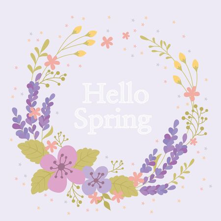Flower pattern wreath template Illustration