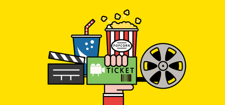 Set of movie ticket involved icon