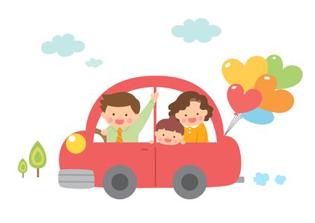 Harmonious family driving car Illustration