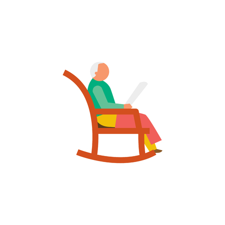 The aged man sitting on chair Illustration