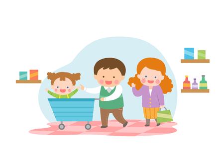 Harmonious family shopping at market