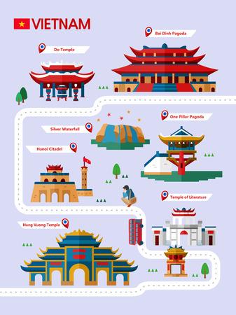 Vietnam attraction infographic with icon Illusztráció