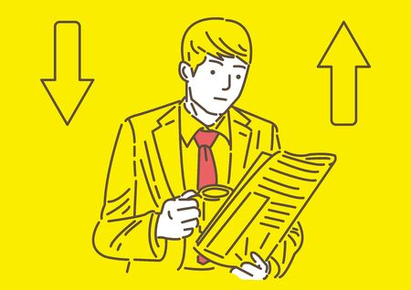Man reading newspaper on yellow background
