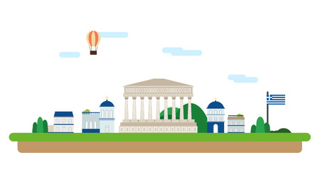 Greece travel collection with famous attractions Ilustrace