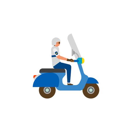 Policeman riding motorcycle Illustration
