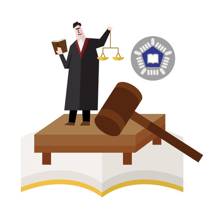 Judge with scale, gavel
