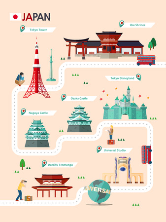 A Japan attraction infographic with icon