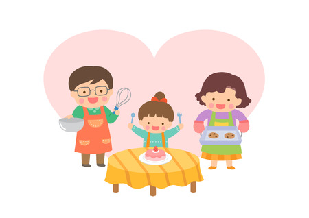 Harmonious family baking 向量圖像