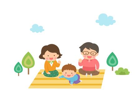 Harmonious family having picnic