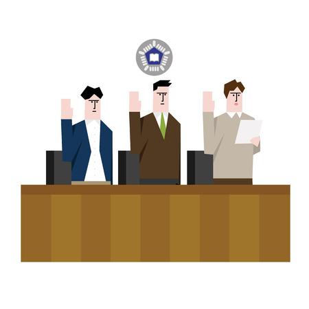 People taking oath in Court Çizim