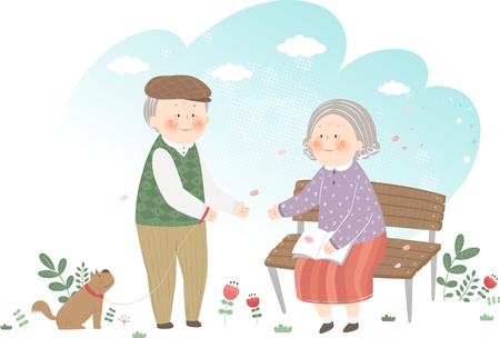 公園で楽しんでいる老夫婦  イラスト・ベクター素材