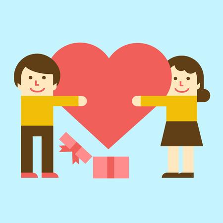 Harmonious couple with heart