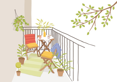 Modern terrace with table, vector illustration. Иллюстрация