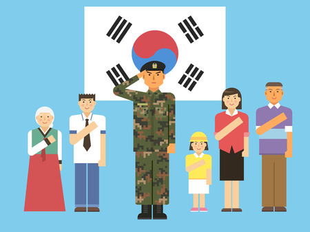 People giving a salute with Korea flag, vector illustration.