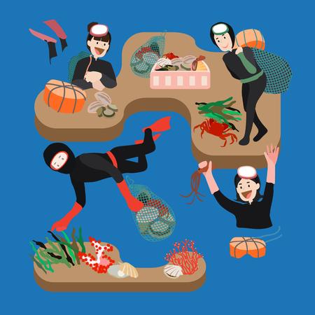 Women working as a haenyeo, vector illustration. Illustration