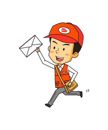 Postman delivery mail, vector illustration.