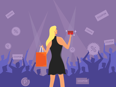 Rear view of beautiful woman shopping, vector illustration.
