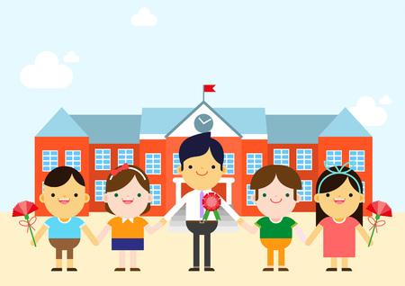 Children giving carnation to teacher, vector illustration.