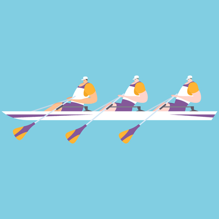 Athlete playing rowing Vector illustration.