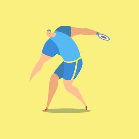 Athlete throwing discus Vector illustration.