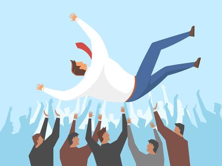 Businessmen tossing shoulder-high, vector illustration.