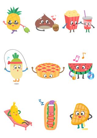Set von verschiedenen Essen Cartoon Standard-Bild - 90759024