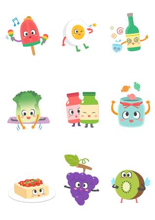 Set of various food cartoon 向量圖像